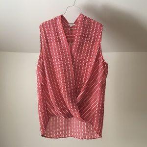 PLEIONE Geometric Wrap Style Sleeveless Top Red